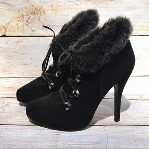 BEBE Analisa black suede lace up heeled booties 6